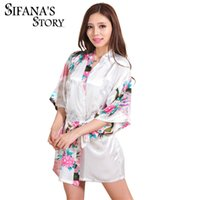 Wholesale Sexy Black Night Gowns - Hot Sale Silk Satin Wedding Bride Bridesmaid Robe Short Kimono Night Robe Floral Bathrobe Peignoir Femme Fashion Dressing Gown For Women