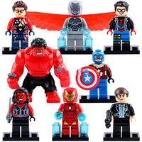 Wholesale Iron Man Building Blocks - Building Blocks The Avengers Super Heroes Spider Boy Captain Red Hulk Iron Man Coulson Mini action figures Bricks christmas