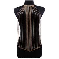 Wholesale Multilayer Body Chain - 2017 New fashion Multilayer Tassel Rhinestones Sexy Bikini Body Chain Necklace Women Bohemian Statement Fashion Punk Body Jewelry