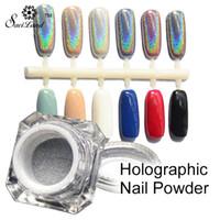 Wholesale Rainbow Pigments - Wholesale-1 Box Rainbow Pigment Chrome Nail Powder Pigment 3D Nail Shining Glitters Hologram Rainbow Holographic Powder