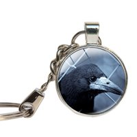 Black Crow Keychain Chaveiro de Cabochon de Vidro Chaveiro de vidro Chaveiro Chaveiro do Dia das Bruxas Bird Lovers Gift Gothic Raven Corw Jewelry