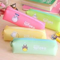 Wholesale Stationery Pencil For Children - Wholesale-cute totoro cartoon animal pencil bag kawaii storage bags for girl children kid school supplies waterproof stationery