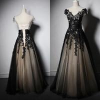 Wholesale vintage dressess for sale - Group buy Gorgeous A Line Vintage Prom Dressess Long Formal Evening Party Gowns Sheer Scoop V Shape Neck Capped Shoulder Black Lace Appliques Corset