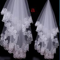 Wholesale Shoulder Length Wedding Veils - 2016 Bride wedding veil about 1 meter lace two wedding veil