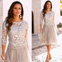 Wholesale Knee Lenght Gold Dresses - New Arrivals Knee Lenght Mother's Dresses Elegant Sheer Neck 3 4 Long Sleeve Lace Tulle Mother Of The Bride Dresses Wedding Party Gowns 2017