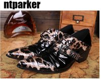 Wholesale Sexy Wedding Dresses Men - Sexy personality fashion shoes for Man vintage leather shoes man high-heeled leather leopard print man's shoes leather