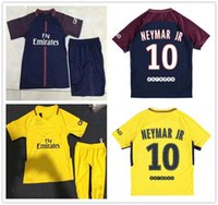 Wholesale Custom Soccer Jerseys Uniforms - Kids NEYMAR JR 10 CAVANI DI MARIA VERRATTI Shirt Home blue Away yellow 17 18 Soccer Jerseys Custom Football Uniforms youth Kit shirt