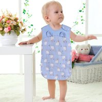 Wholesale Thin Baby Vest - Baby sleeves children cotton gauze summer thin section vest sleeping bag baby cotton air conditioning anti - kick was
