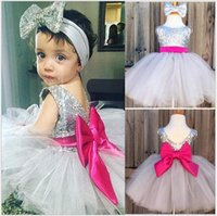 Sequins Christening Dresses для малышей Baby Girls Red Bow Sash Mesh Tutu Party Dress с головной полосой оптом