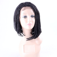 Wholesale Bob Boxing - Synthetic lace front wig 3X Twist Braids box braids bob wigs with baby hair 14inch heat resistant fiber 10colors