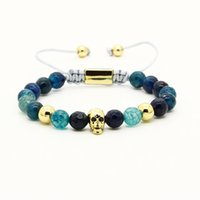 Wholesale gold chain rope design men online - New Design mm Faceted Blue Dragon Veins Agate Stone With Black Cz Skull Macrame Bracelets For Men