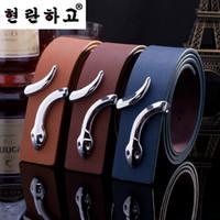 Wholesale Snake Ladies Belt - Wholesale- 2016 New Hot Fashion mens belt luxury Brand designer belt men high quality PU Leather belts of men women belts Snake Buckle lady