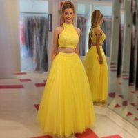Wholesale Yellow Halter Neck Top - 2017 Two Pieces Prom Dresses High Neck Halter Sleeveless Lace Crop Top Keyhole Back Floor Length Tulle Evening Party Gowns Custom Made