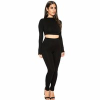 Wholesale Sexy Pants For Women - Womens Hot Sexy Bodycon Two Piece Sets Autumn Fashion Slim Long Sleeve Crop Tops and Pants 2 piece Set Clothing For Woman Two piece Suits