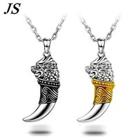 Wholesale Vintage Nacklace - Wholesale-JS 2016 Vintage Wolf Fang Necklace Silver Nacklace Tribal Teen Wolf Neckless Colar Viking Pendant Mens Jewlery SN018