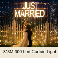 2018 Luzes de Ano Novo 3X3M 300 Leds Window Curtain Icicle Lights for Wedding led Christmas Net Fairy Lights Backyard Garden Home Decorações