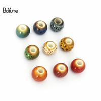 BoYuTe 100Pcs 6MM Handmade Ceramic Beads Wholesale Porcelain Diy Beads Jewelry Making In 6 Colors Round Shape Beads