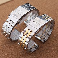 Wholesale watch band beads - Luxury Watch Accessories Folding safety buckle Stainless Steel band strap 5 beads solid link bracelet Polished 22mm 24mm silver gold free sh