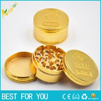 Wholesale Three Layer Tobacco Grinder - Gold zinc alloy grinder three layers metal grinder gold grinder herb tobacco cracker