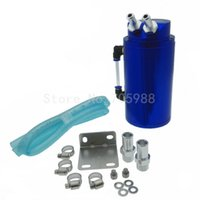 Wholesale Breather Catch Tank - Aluminum BLUE Car Oil Reservoir Catch Universal Can Tank Breather Filter Baffled 100% BRAND NEW