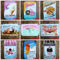 Wholesale Vintage Pop Art Poster - Ice Pop Fairy Cake Donuts Ice Cream Pancakes Vintage Craft Tin Sign Retro Metal Poster Bar Pub Signs Wall Art Sticker(Mixed designs)