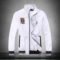 Wholesale Polo Shirt Long Sleeve Pocket - New 2017 Men's Bomber Jacket Men off WHITE Back Letter Printing Baseball Collar Jackets Autumn Black polo shirt Slim Fit Windbreak Coat