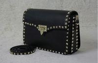 Wholesale Designer Bags Studs - 11 Colors Genuine Cow Leather Luxury Handbags Women Messenger Studs Rivet Bags Designer 2016 Famous Brand Crossbody Flap Bags