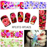 Wholesale Wholesale Water Temporary Tattoo - Wholesale- 50Sheets Nail Art Flower Water Tranfer Sticker Nails Beauty Wraps Foil Polish Decals Temporary Tattoos Watermark XF1372-1421