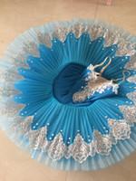 Wholesale Professional Dance Leotards - 2017 new Adult Professional Ballet Tutus Blue Ballet Dance costume Adult Costume Tutu Dance Leotard Girls Ballet Dress Women