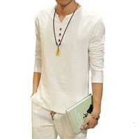 Wholesale Hot Summer New Chinese Kung Fu Vintage Style Men Shirt Men s V Neck Long Sleeve Linen Shirt Plus Size Mens Clothing XL