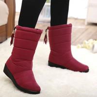Wholesale Mid Calf Rain Boots - Hot Sales Women Rain Snow Boots waterproof Winter Shoes Faux Fur Lined rubber band tassel