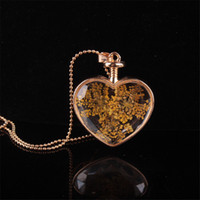 Wholesale Heart Shaped Glass Bottle Pendants - 2017 fashion heart shaped glass perfume bottle dry flower pendant necklace gemstone retro necklace gold plated jewelry for women accessorie