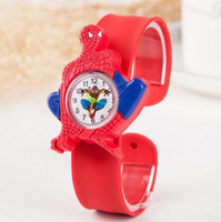 Children's spiderman cartoon series - Car Frozen White Snow Spiderman Ultraman Batman Snap slap watch Series Slap Watch Cute Cartoons Watch Silicone Candy Kid Clock