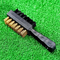 Atacado-1Pc Preto Duplo 2 lados Nylon / Brass Wires Golf Club Clipe Groove Brush Cleaner Ball Shoes Kit Fit Limpeza Ferramenta IRON / WOOD NOVO