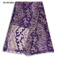 Wholesale Purple Voile African Lace - Purple 2016 Latest African French Lace Fabric,High Quality voile lace African Tulle Lace with stones Fabric For Wedding dress D612PL08