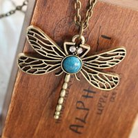 Wholesale Dragonfly Hollow - N379 Vintage Hollow Dragonfly Pendants Necklaces Women Antique Gold Plated Jewelry Accessories 2017 Collares Wholesales