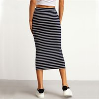 Wholesale Pocket Pencil Skirt - Navy and White Drawstring Striped Twin Pockets Slim Pencil Vintage Skirts 2017 Spring Summer European Style Skirt
