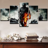 Wholesale Decorative Group Oil Painting - Unframed 5 Pieces Battlefield Soldier Oil Painting On Canvas Modern House Decorative Wall Art Picture Room Poster Group Painting