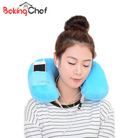 Wholesale Home Garden Products - Wholesale- U-Shape Inflatable pillow Portable Flannel travel neck pillow Home Garden Textile Item Stuff Accessories Supplies Product