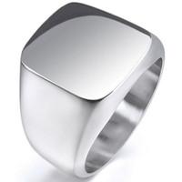 novo anel de prata para meninos venda por atacado-New Vintage Mens Meninos de Prata Esterlina de Aço Inoxidável 316L Polido Biker Signet anel de Jóias dos homens Sólidos