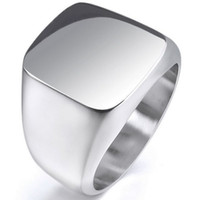 Wholesale Mens Sterling Silver Biker Rings - Vintage Mens Boys Sterling Silver Color Stainless Steel 316L Polished Biker Signet Solid ring Men's Jewelry R13