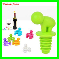 Wholesale Wine Holder Set - Creative Cartoon Silicone Wine Stoppers 7 PCS Set Colorful Red Wine Bottles Cups Marker Holders Champagne Bottle Stopper