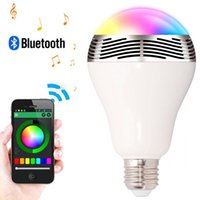 Wholesale E27 Led Glass - US Stock! 5W E27 Bluetooth 4.0 Music Audio Speaker Smart LED RGB Colorful Light Lamp APP Support Android and IOS System