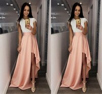 Wholesale Women Wearing Cute Dresses - Fashion White and Pink Cocktail Dresses Cap Sleeve Lace Cute High-Low Prom Cheap Special Occasion Dresses for Women