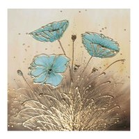 Wholesale contemporary floral wall paintings - KGTECH Studio Contemporary Art Handmade Blue Floral Painting Silver Foil Artwork For Living Room Wall Decorations 28x28inch(50x50cm)