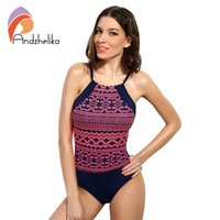Wholesale Animal Print Monokini Swimwear - Wholesale- Andzhelika 2017 One Piece Swimsuit Sexy Swimwear Women Bathing Suit Swim Vintage Summer Beach Wear Print Bodysuits Monokini