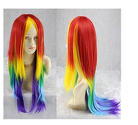 Wholesale Straight Rainbow Wigs - 100% New High Quality Fashion Picture full lace wigs Women Long Straight Rainbow Color Cosplay Synthetic Hair Full Wigs Hallow Gift