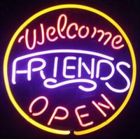 ingrosso pub segni aperti-Welcome Friends Open Neon Sign Display Negozio di Pub Beer Bar KTV Clubs Negozio Motel Hotel Ristorante Neon Signs Tubo di vetro reale 16