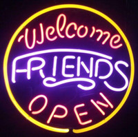 "Wholesale Hotels Shop - Welcome Friends Open Neon Sign Pub Display Store Beer Bar KTV Clubs Shop Motel Hotel Restaurant Neon Signs Real Glass Tube 16""X16"""