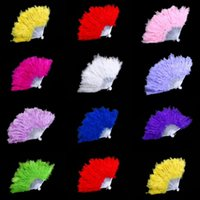 Wholesale Fluffy Feather Hand Fan Dance Fancy Elegant Props Dress Wedding Costume Dance Folding Fan Halloween Phantom Party Supplies Festive Supplies